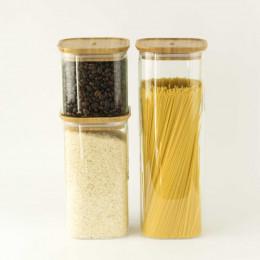 Plat en verre carré avec couvercle en bambou - 1,4 L