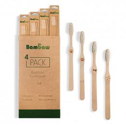 Lot de 4 brosses à dents en Bambou - souple