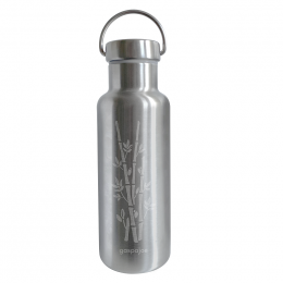 Gourde Isotherme Groovy Inox - gravure bambou - 500 ml