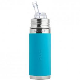 Biberon isotherme évolutif inox 260 ml - Paille - Turquoise