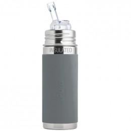 Biberon isotherme évolutif inox 260 ml - Paille - Gris