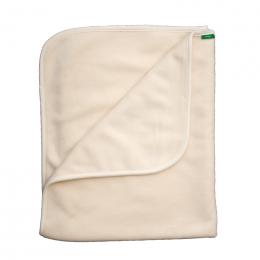 Couverture bébé en cotion Bio velours - Ecru