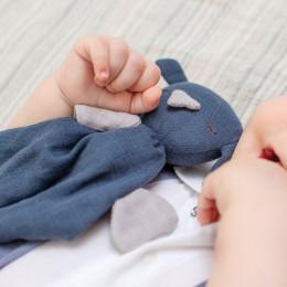 Doudou Hugo tétra - bleu marine - dès la naissance