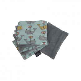 Lingette bébé en coton - 12 x 14 cm - Lot de 6 - Cachalots