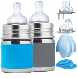 Kit 2 biberons évolutifs inox 150 ml – Gris / turquoise