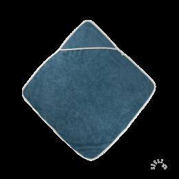 Cape de bain avec capuchon - Coton Bio - Bleu moyen