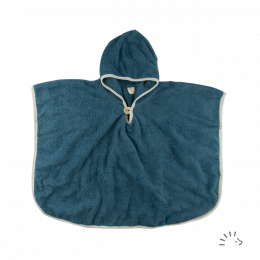 Poncho de bain - Coton Bio - Bleu moyen