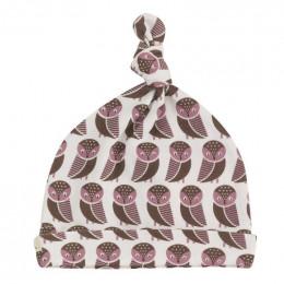 Bonnet en coton BIO - Hiboux rose