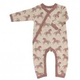 Pyjama kimono en coton BIO - Chevaux rose