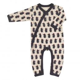 Pyjama kimono en coton BIO - Taupe navy