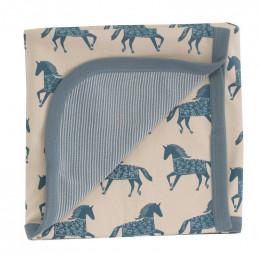 Couverture en coton BIO - Chevaux bleu