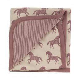 Couverture en coton BIO - Chevaux rose