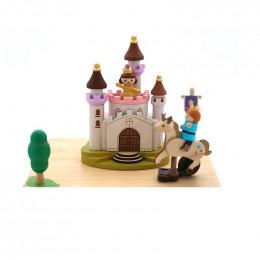 Manège musical en bois - Licorne et princesse