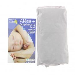Alèse + Drap Housse 2-en-1 (Kadolis) - Pour Lit Bébé 70x140 cm - plusieurs coloris disponibles