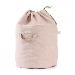 Sac à jouets Bamboo - White bubble & Misty pink - large