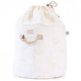 Sac à jouets Bamboo - Gold bubble & White - small
