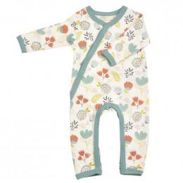 Pyjama kimono en coton BIO - Flowers Turquoise
