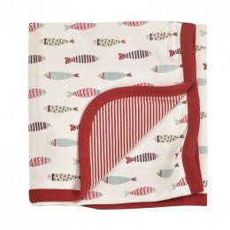 Couverture réversible coton BIO - Poissons rouges