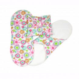 Serviettes hygiéniques lavables en coton BIO Fleurs - NORMAL - pack de 3