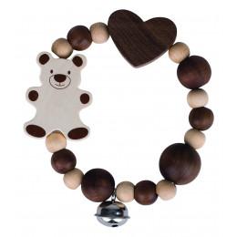 Hochet en bois - élastique ours - à partir de 3 mois